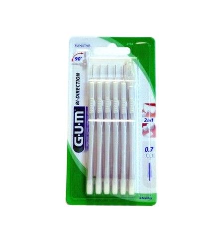 CEPILLO INTERDENTAL GUM 2114 BI-DIRECTION ULTRAMICRO 0.7 6 U
