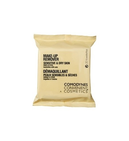 COMODYNES CONVENIENT COSMETICS MAKE UP REMOVER SENSITIVE & DRY SKIN 20 TOALLITAS